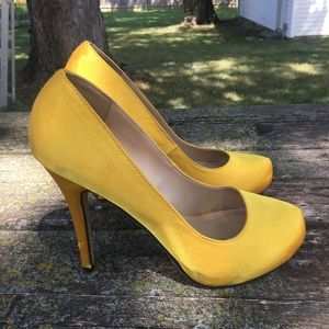 Yellow Satin Heels.